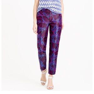 J. Crew Midnight Floral Metallic Dress Pants Sz 0